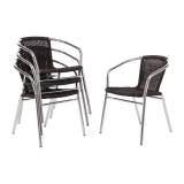 Bolero Aluminium en Rotan Stoel Zwart