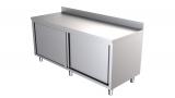 Rvs Werktafel Met Schuifdeuren + Rand 1400 x 600-line
