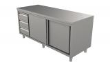 Rvs Werktafel Met Schuifdeuren en Laden Links 1600 x 700-line