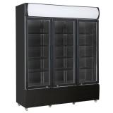Koelkast 3 Glasdeuren Zwart Fcu-1200 Bl