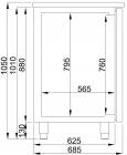 C.s. Bierkoeler 2 Deuren Rechts, Wasbak Links | 1550 mm
