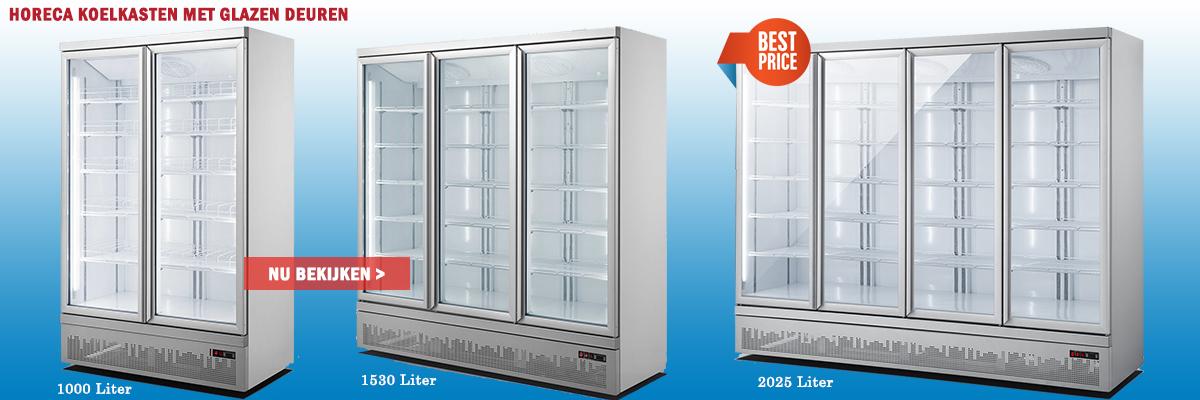 Horeca koelkasten met glazen deuren